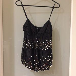NWOT H&M Black Dressy Spaghetti Strap Top Size 6